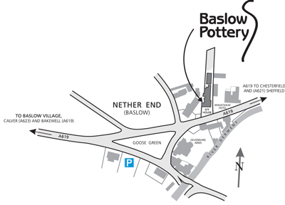 Sign to Baslow Pottery